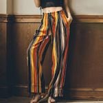 Striped vertical asymmetric Boho pants