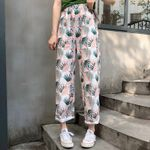 Printed Wide Leg Vintage High Elastic Waist Boho Pants