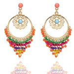 Ethnic Turkish Gold Color Long Earrings