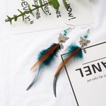 Vintage Ethnic Butterfly Feather Dangle Drop Earrings