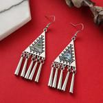 Ethnic Silver color Vintage Geometric Tassel Earrings