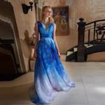 Elegant Blue Sexy Deep V Neck Dress