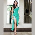 Fashion Green Beige One Shoulder Sleeveless Sexy Dresses