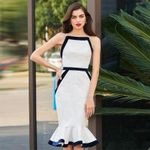 Fashion Black White Bandage Dress