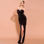 Sexy Black Red Backless Off Shoulder Design Sequin Dress