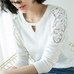Shoulder Embroidery Cotton Black White Hollow Out T-shirt
