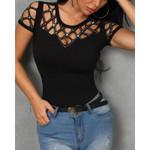 Glitter Elegant Short Sleeve Diamonds Tops T-shirts
