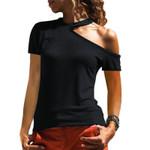 Solid Color Short Sleeve Cold Shoulder Tshirt