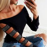 Hollow Out Bandage Long Sleeve Slash Neck T-shirts