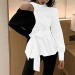 Hollow Out Loose Bandage Patchwork Blouses