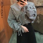 Vintage Plaid Preppy Style Loose Slim Blouses