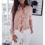 Fashion Ruffles Casual Stand Collar Long Sleeve Blouses
