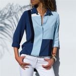 Turn-Down Collar Color Block Long Sleeve Blouses