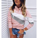 Fashion Color Block Patchwork striped Hoodies