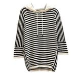 loose casual striped three quarter sleeve fleece hoodies