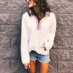 V-neck Warm Casual Long Sleeve Sweatshirts