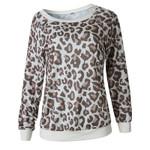 Leopard Print Casual O-neck Long Sleeve Sweatshirts