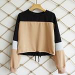 Long Sleeve Loose Crop Top Sweatshirt