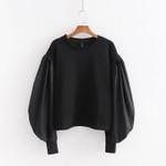 Wide Lantern Sleeve Fashion Long Sleeve O-Neck Sweatshirts