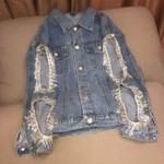Cut-out Bling Rhinestone Fringed Loose Light Blue Washing Denim Jacket