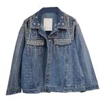Heavy Industry Beaded Diamond Chain Denim Jacket