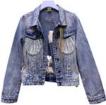 Fashion beading tassel hole denim jacket
