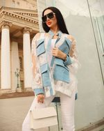 Fashion Solid Color Lace Hollow out Sexy Denim Jackets