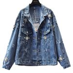 Fashion Heavy Pearl Bead Hole Denim Jacket