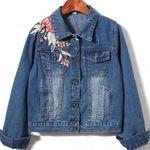 Flower Embroidered Long Sleeve Denim Jackets