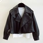 Faux Leather Turndown Collar PU Motorcycle Jackets