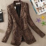 Leopard Print One Button casual Long Sleeve coat