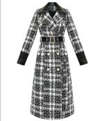 vintage small fragrance tweed woolen coat