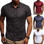 Peak  Casual Shirts Button Down Collar Slim Fit Short Sleeve