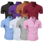 Short Sleeve Solid Shirts Slim Fit Male Social Business Dress