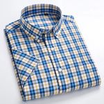 Short Sleeve Plaid Shirts Fashion Business Shirts