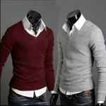 V-Neck Sweaters Stylish Knitted Long Sleeve  Sweater