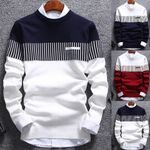 Sweater Color Block Patchwork O Neck Long Sleeve Knitted