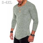 Sweater Thin O-Neck Knitted Pullover Casual Solid