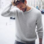Casual Cotton  Pullovers Male Knitted Color Slim Sweaters