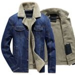 Denim Jacket Fur Collar Warm Thick Mens Casual Jeans Coats