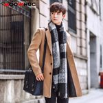 Wool Blend Overcoat  Fashion Brand Clothing Lined Warm