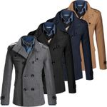 Woolen Coat Slim Fit Casual Reefer Jackets Solid Stand Collar
