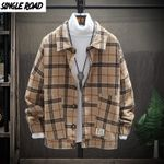 Single Road Woolen Coats Jackets Retro Casual Wool Plaid