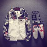Floral Bomber Jacket Hip Hop Slim Fit Flowers Pilot Bomber Jacket