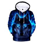 Hoodie Wolf 3D Mens Boys Hoodies Sweatshirt
