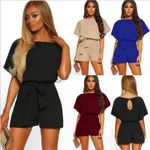 Romper Casual Loose O Neck Short Sleeve Jumpsuit