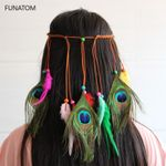 Colorful Feather Boho Hair Bands  Beaded Hair Accessories