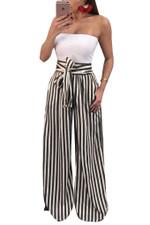 Wide-legged pants office Stripe Print Sashes Fashion