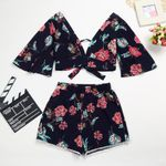 New Off Shoulder Floral Set Slash Neck Short Sleeves Crop