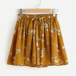 Floral Print Elastic Loose Shorts Waist Ringer Shorts
